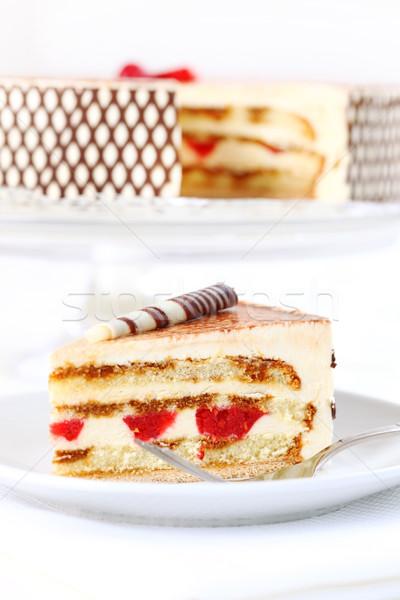 Tiramisu birthday cake Stock photo © brebca