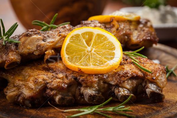 Churrasco costelas ervas comida fumar Foto stock © brebca