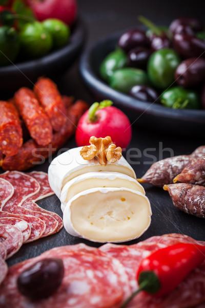 Sajt antipasti vendéglátás étel étterem vacsora Stock fotó © brebca