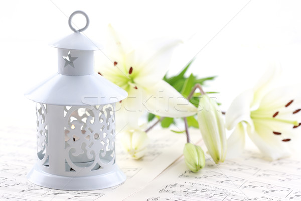 Karácsony csendélet gyertyák hangjegyek lámpa fehér Stock fotó © brebca