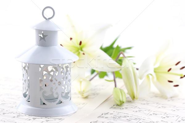 Natal natureza morta velas notas musicais lâmpada branco Foto stock © brebca