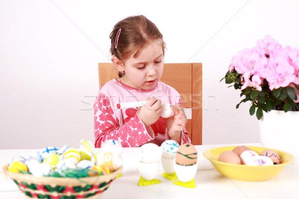 Festmény húsvéti tojások aranyos kislány munka gyermek Stock fotó © brebca