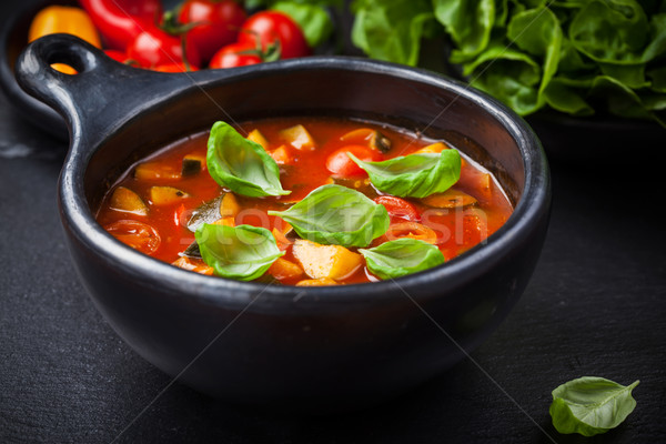 Minestrone soup with vegetables Stock photo © brebca