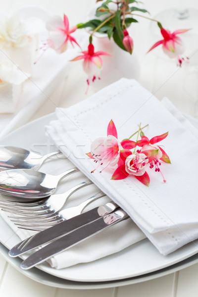 Fine dining - table decorated with flowers Stock photo © brebca