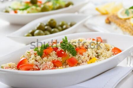 Cuscús ensalada tomate pimienta alimentos vida Foto stock © brebca