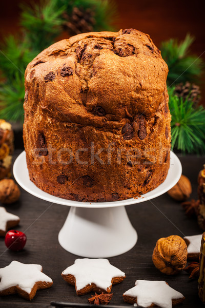 Chocolate panettone cake for Christmas Stock photo © brebca