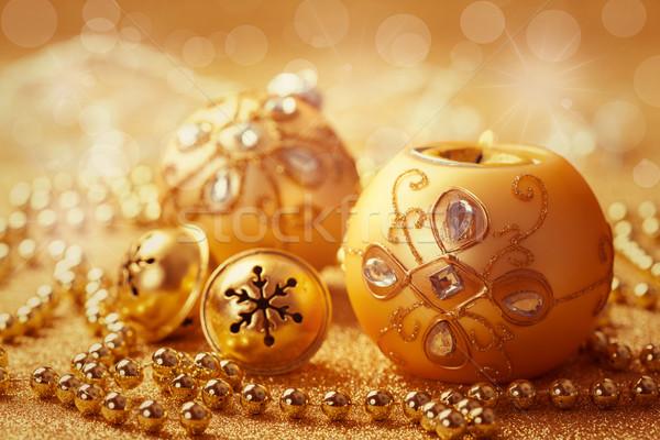 Christmas balls with jingle bells Stock photo © brebca