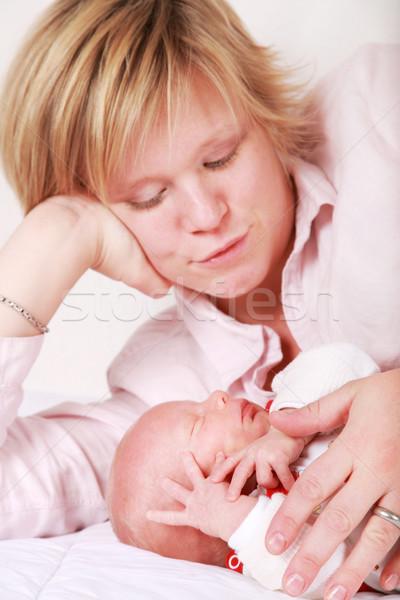 Stock fotó: Család · pillanatok · anya · élvezi · aranyos · baba
