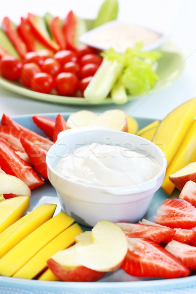 Raw  fruits and vegetables with dip Stock photo © brebca