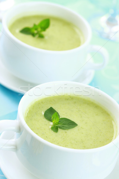 Soup of green vegetables Stock photo © brebca