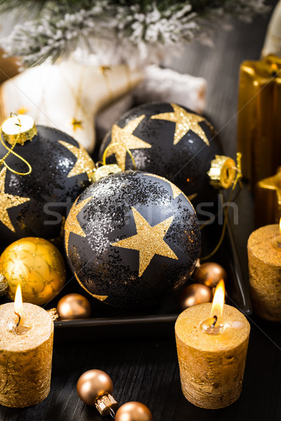 Karácsony golyók gyertyák arany hó gyertya Stock fotó © brebca