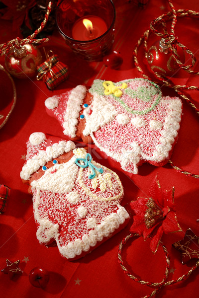 Foto stock: Pan · de · jengibre · papá · noel · Navidad · detalle · alimentos · rojo