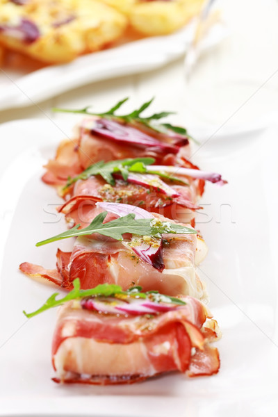 Prosciutto fromages alimentaire vert rouge Photo stock © brebca