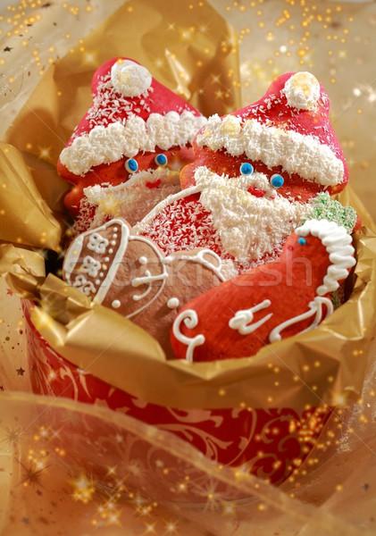 Stock fotó: Mézeskalács · mikulás · karácsony · részlet · doboz · étel