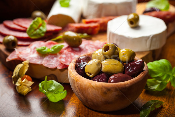 Fresh olives and antipasto catering platter Stock photo © brebca