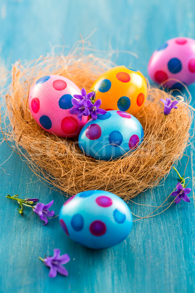 Colorful Easter eggs with spring flowers Stock photo © brebca