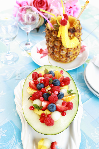 Fresh fruit salad with pineapple drink Stock photo © brebca