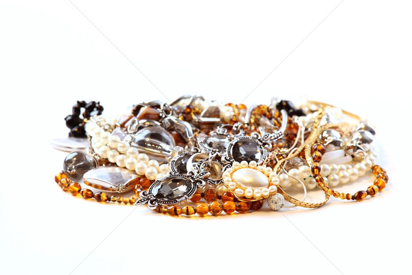 Various jewellery and accessories on white background Stock photo © brebca
