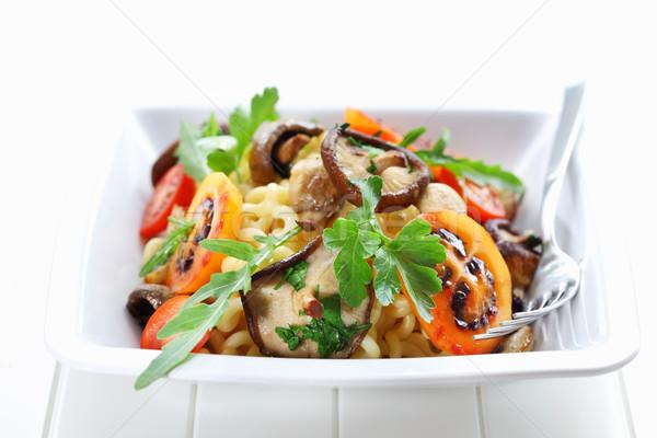 Pasta champignons groene kaas plaat leven Stockfoto © brebca
