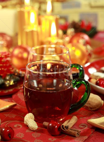 Sıcak içecek Noel lezzetli kurabiye mum çay Stok fotoğraf © brebca