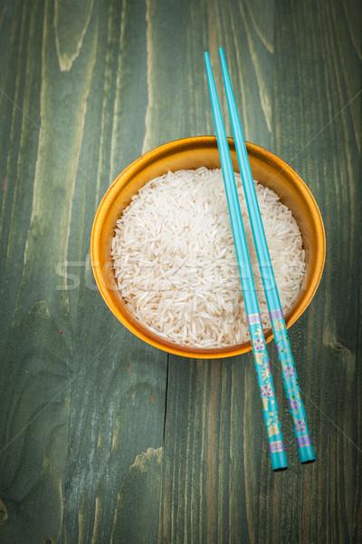 Rizs magvak fa tál tányér kínai Stock fotó © brebca