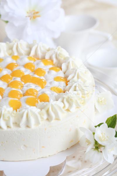 Iogurte bolo laranjas delicioso creme flor Foto stock © brebca