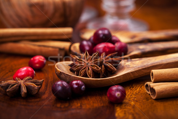 Ingredients for cranberry hot mulled wine Stock photo © brebca