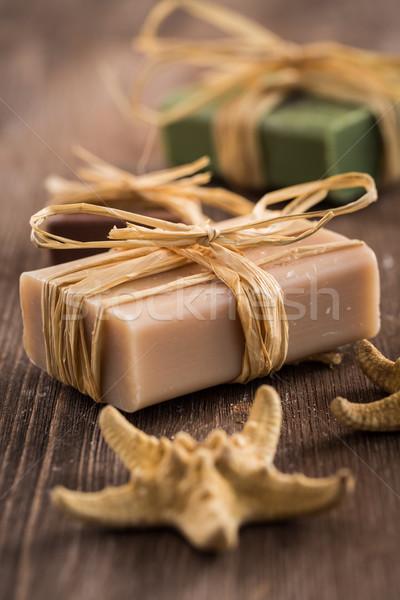 Stockfoto: Bars · handgemaakt · zeep · houten · hand · lichaam