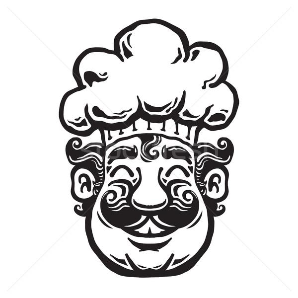 улыбаясь повар Cartoon ресторан знак работник Сток-фото © briangoff