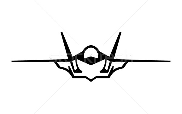 Flying Fighter Jet vector icon Stock photo © briangoff