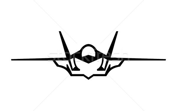 Uçan savaşçı jet vektör ikon gökyüzü Stok fotoğraf © briangoff