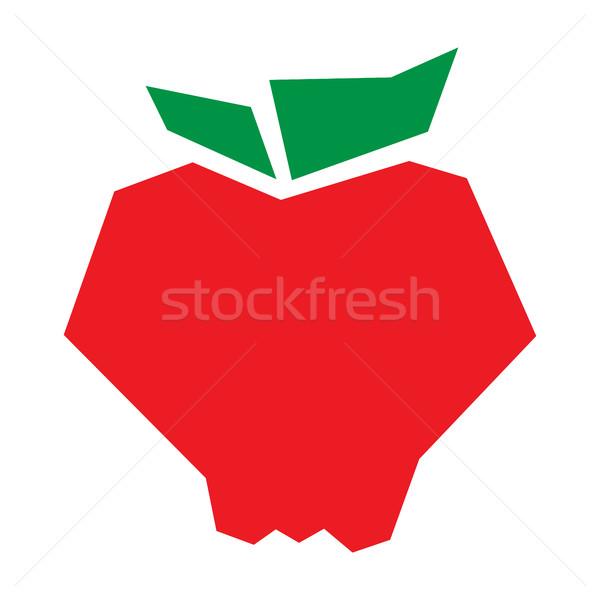 яблоко Cartoon вектора икона продовольствие фрукты Сток-фото © briangoff