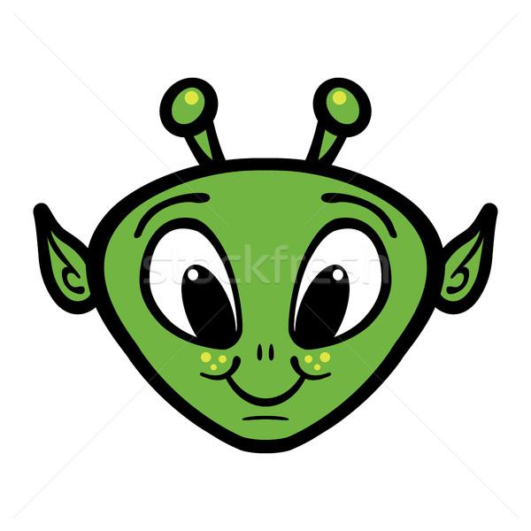 Alien Head Vector Icon Stock photo © briangoff