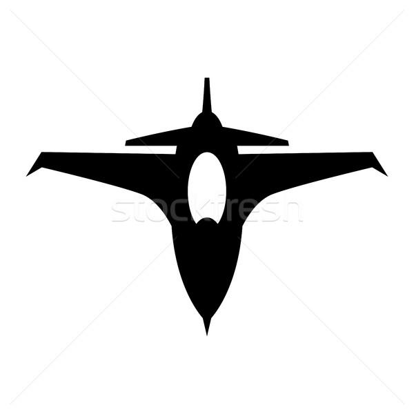 Repülés vadászrepülő repülőgép vektor ikon égbolt Stock fotó © briangoff