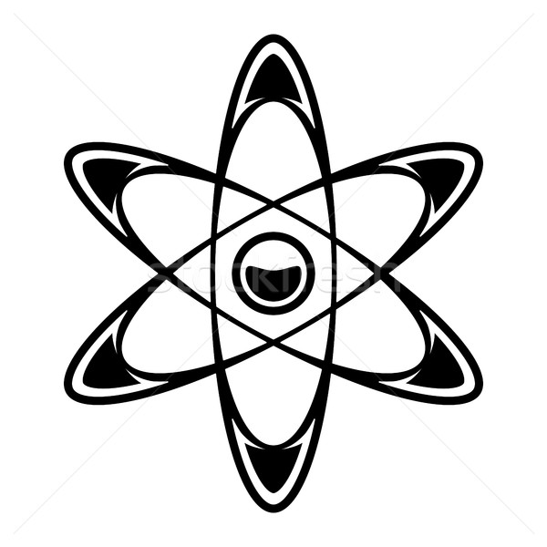 Dynamisch atoom wetenschap symbool vector icon Stockfoto © briangoff