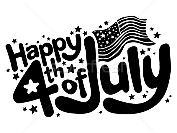 Happy 4th of July fun text vector graphic Stock photo © briangoff