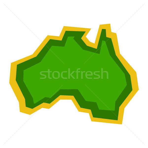 Ausztrália térkép földrajz forma vektor ikon Stock fotó © briangoff