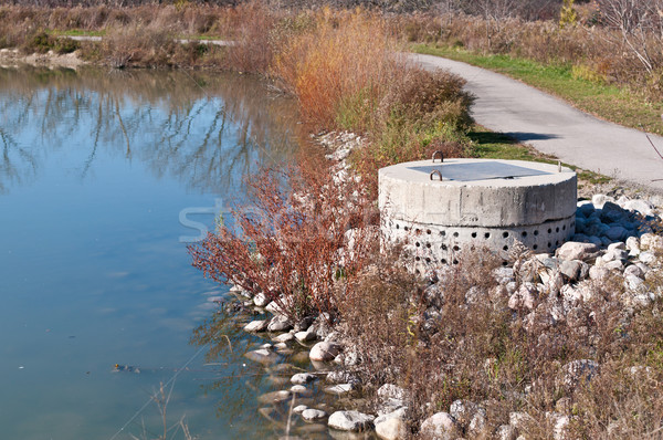 Stormwater Management System Perforated Concrete Pipe Stock photo © brianguest