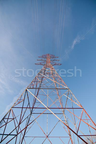 Stockfoto: Elektrische · toren · elektriciteit · naast · meer