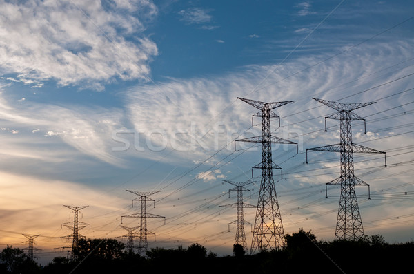 Electrical Transmission Towers (Electricity Pylons) at Dusk Stock photo © brianguest