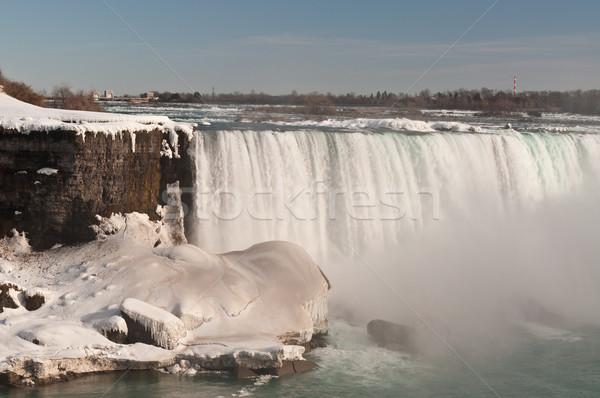 Niagara Falls hoefijzer winter rivier ijs waterval Stockfoto © brianguest