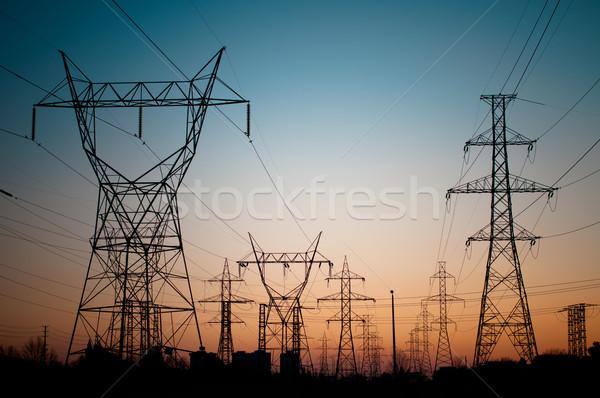 Stockfoto: Elektrische · elektriciteit · zonsondergang · lang · lijn