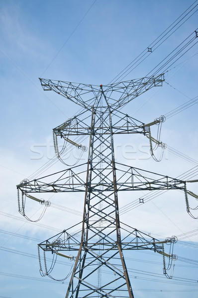 Electrical Power Transmission Tower with Blue Sky Stock photo © brianguest
