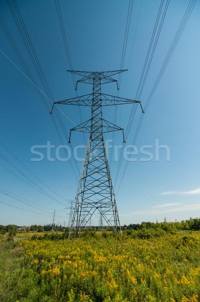 電気 塔 高電圧 行 青 電源 ストックフォト © brianguest