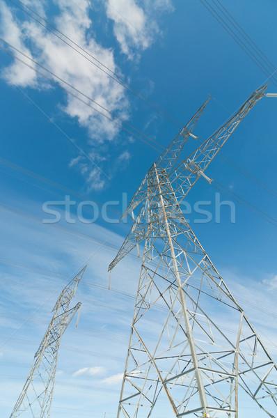 Elektomos tornyok elektromosság pár hordoz nagyfeszültség Stock fotó © brianguest