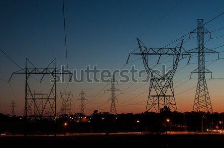 Electrical Towers at Sunset Stock photo © brianguest