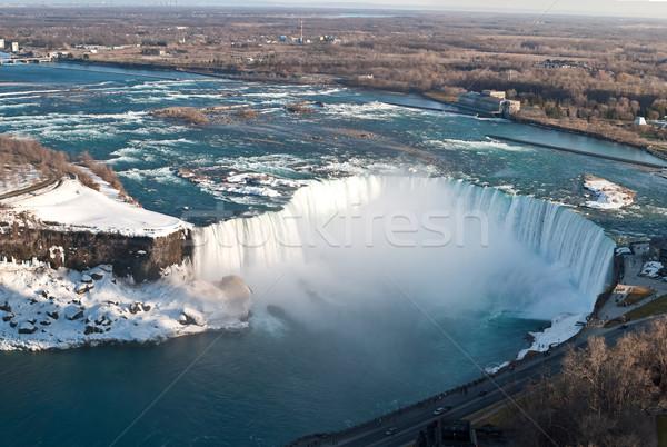 Hoefijzer boven winter Niagara Falls sneeuw schoonheid Stockfoto © brianguest