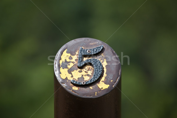 Number 5 on a Metal Post Stock photo © brianguest