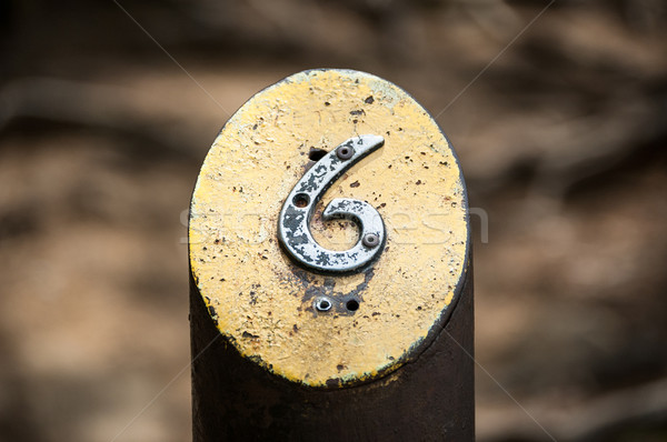 Number Six on a Metal Post Stock photo © brianguest