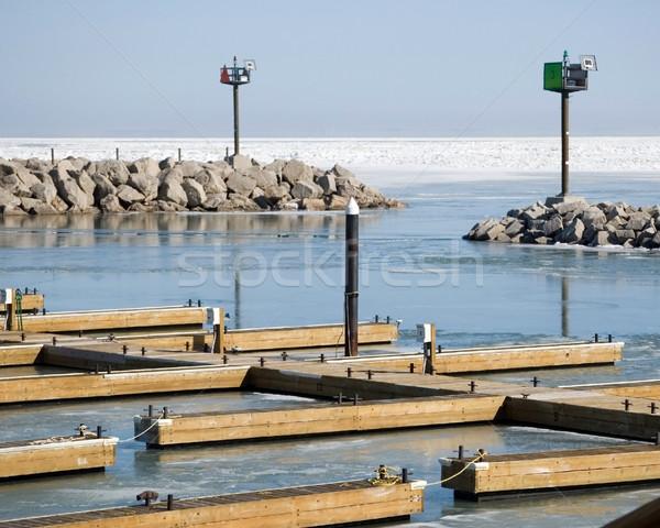 Bevroren jachthaven spelevaren entree meer Stockfoto © brm1949